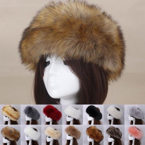 ChYoung Womens Faux Fur Hat with Stretch Winter Warm Cap Faux Fur Headband Ski Cold Weather Caps