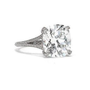 Cushion-cut diamond split-shank ring set in platinum, Tiffany & Co.