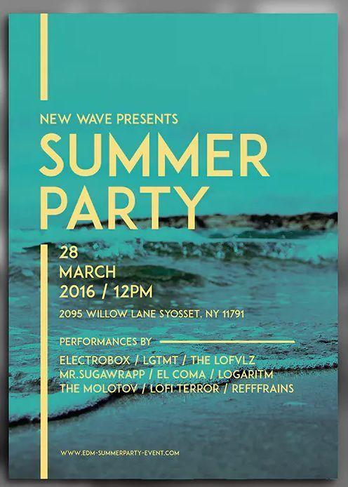 Simple Summer Party Flyer Template Ai Psd A4 In 2020 Vorlagen Fur Flyer Graphik Flyer Vorlage