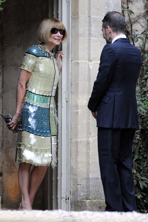 """naimabarcelona: """" Kate's wedding - Anna Wintour and Marc Jacobs talking after the service. Wintour chose a Prada sequined dress. """""""