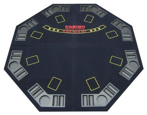 4-Fold Octagon Poker / Blackjack Table Top in Blue by JP Commerce. $46.38. 4foldoct Features: -4-fold octagon table top.-Material: Foam.-Light, sturdy and easy storage to transport and travel.-Also comes with a carrying bag with a double strap handle.-Table top has 8 player positions with individual trays for poker chips and beverages.-Made of superior quality felt for a smooth playing surface.-Great for all cards games such as poker and blackjack.-Table folds in half and then h...