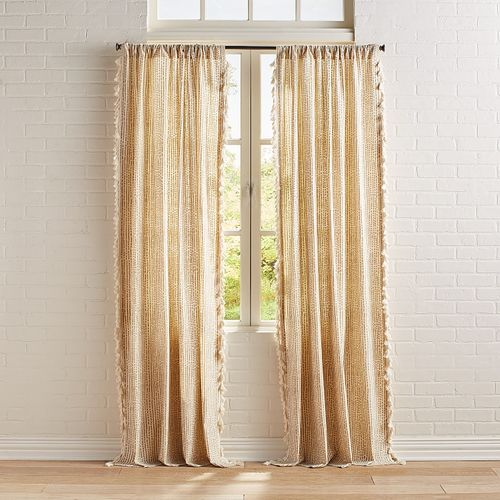 Gold Foil Curtain With Tassels Gold Curtains Living Room Tassel