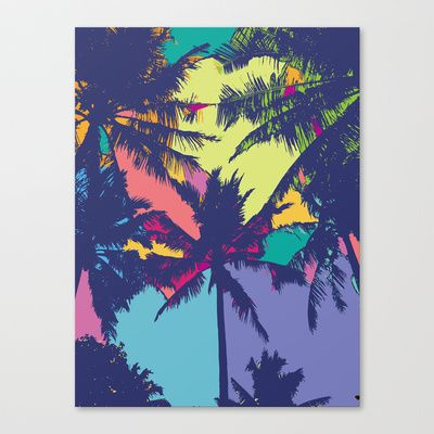 Palm tree Stretched Canvas by PINT GRAPHICS - $85.00