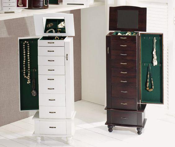 Mueble Giratorio Con Organizador Y Espejo : Mueble joyero de madera con ocho cajones y parte superior