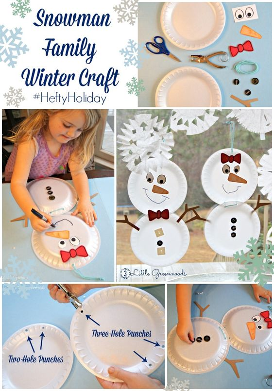 Chase Away the Winter Blues ~ Build a Snowman Family {Kid Craft} #HeftyHolidays #ad
