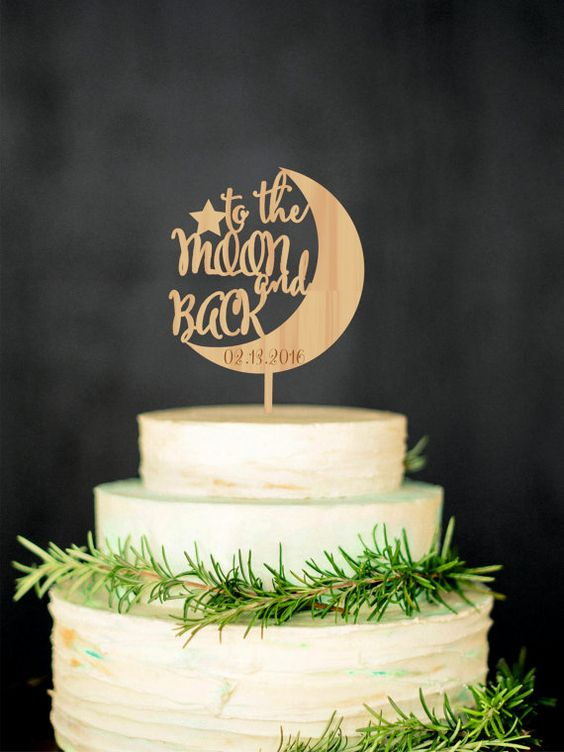 To the Moon and Back Cake Topper will bring you an opportunity to personalize your wedding cake and will help to make it unique. Personalized: