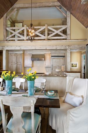 love this timber frame interior especially the balcony created over the kitchen ~ from Delicious Dining Rooms ~  The Cottage Journal - style with fresh charm