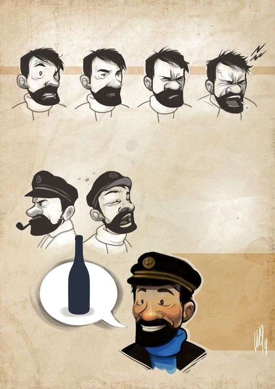 Secundarios de cómic: El capitán Haddock. Ilustración realizada por María Emegé para Fabulantes - http://www.fabulantes.com/2014/01/secundarios-de-comic-el-capitan-haddock/