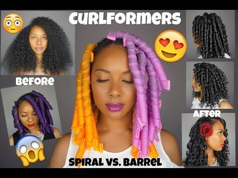 Easy Curlformers On Natural Hair L Spiral Curlformers Vs Barrel Curlformers Youtube Curly Hair Styles Natural Hair Styles Curlformers