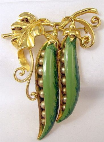 VINTAGE ENAMEL PEAS IN A POD BROOCH   Learn about your collectibles, antiques, valuables, and vintage items from licensed appraisers, auctioneers, and experts at BlueVault. Visit: http://www.bluevaultsecure.com/roadshow-events.php: