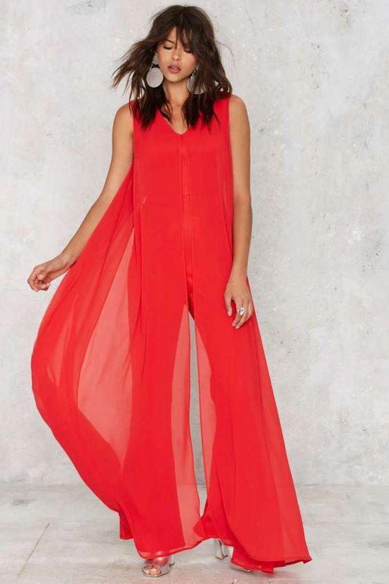 Red dress midi jumpsuit