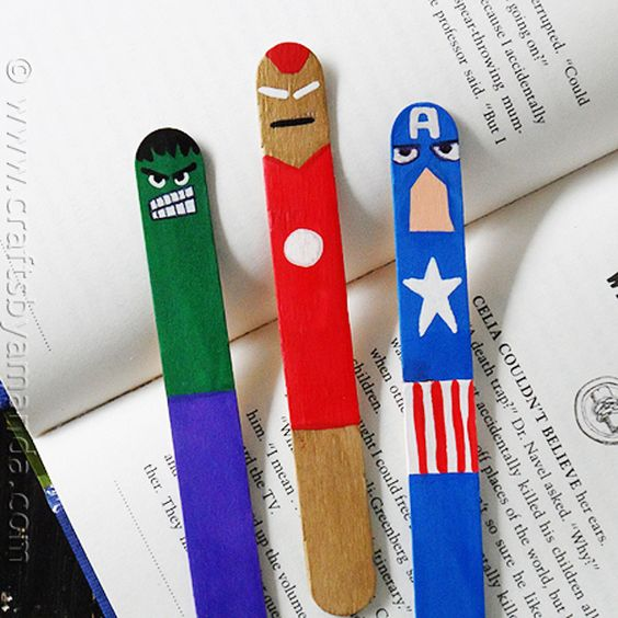 Recycle your popsicle sticks and make these cool avengers for Cool ways to make bookmarks