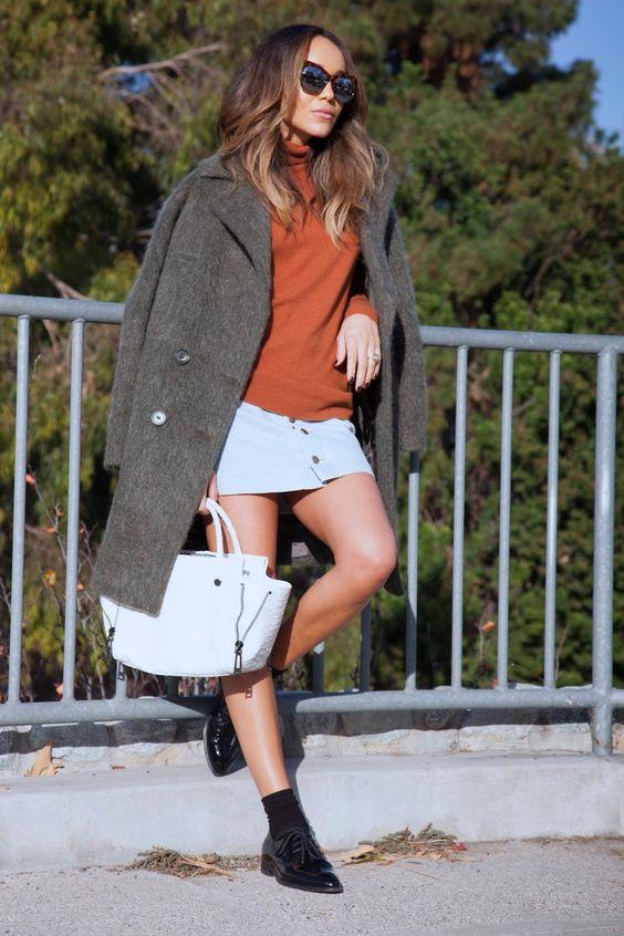 Sweater: ASOS. Skirt: American Apparel. Shoes: Celine. Coat: ASOS. Bag: Botkier. Sunglasses: Elizabeth & James.