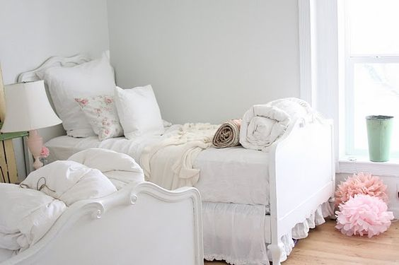 wall paint color for girls' room:  Martha Stewart's / Newsprint. It is a really light gray color, and really helps make the whites pop.