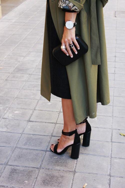 Green coat & high heels: