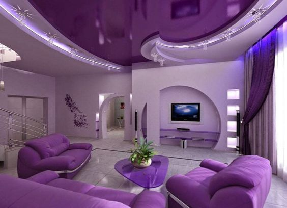 neue saison wohnzimmer design-ideen,sehr eleganten lila wohnzimmer ...