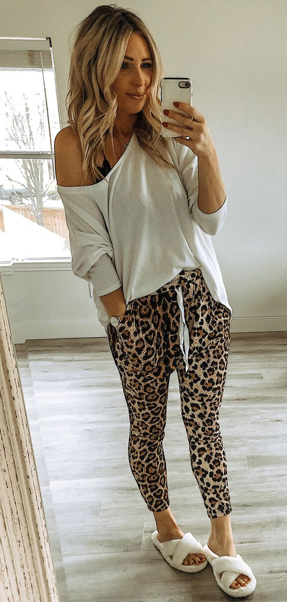 brown and black leopard print pants #spring #outfits