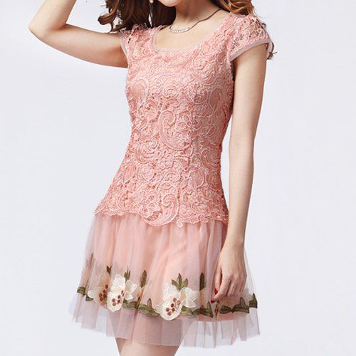 Ladylike Scoop Neck Applique Floral Embroidery Short Sleeves Dress For Women