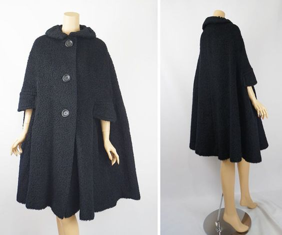 Vintage 1960s Cape Black Boucle Wool Coat by by alleycatsvintage