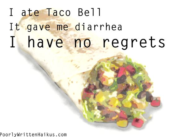 My brain loves Taco Bell, but my colon doesn't. I still have no regrets.