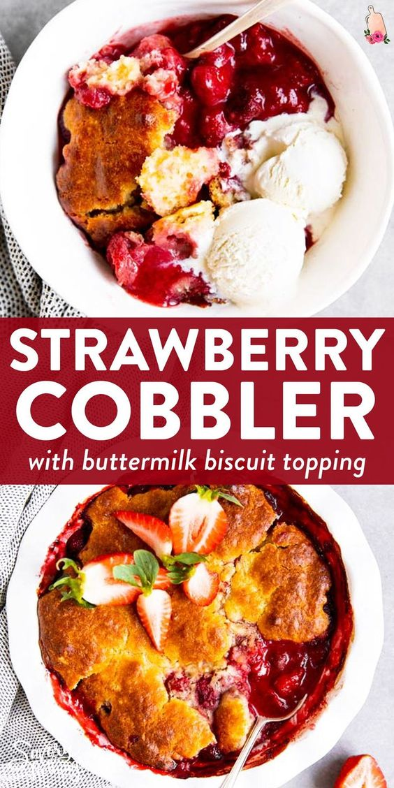 Strawberry Cobbler with Buttermilk Biscuits
