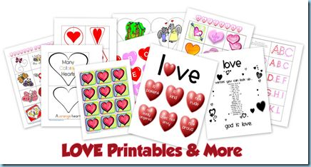 Collection of printables, crafts, and activities for Valentine's Day {love} theme.