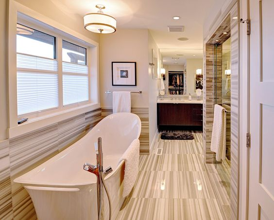 Love this tile, and the large window by the bath with pull up blinds for privacy