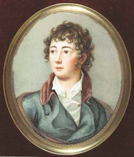 ENGLISH, circa 1810. Portrait of a young English gentleman - Miniature 14 x 11 cm, oval.: