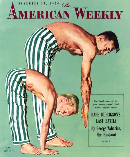 Father and Son Exercising by Bob Hilbert, The American Weekly, Nov. 25, 1956