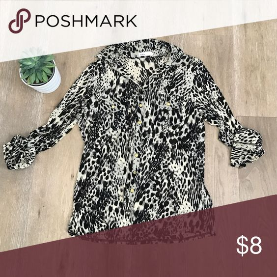 Long sleeve animal print blouse. Size M Long sleeve animal print blouse. Size Medium. Sheer fabric. Gold buttons. Pair with leggings and booties.  Roll up arms. toto Tops Button Down Shirts