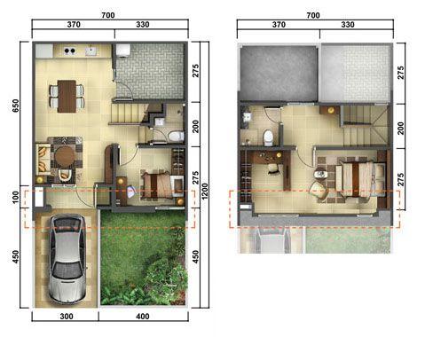 desain rumah dua lantai ukuran 7x12 - fiasindah