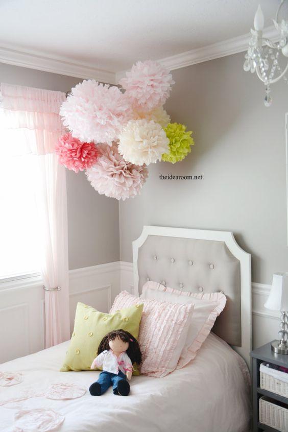 Paper pom poms little girl rooms and tissue pom poms on for Pom pom room decor