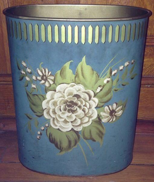 Vintage harvell metal wastebasket trash can flowers shabby cute chic trash it pinterest - Shabby chic wastebasket ...