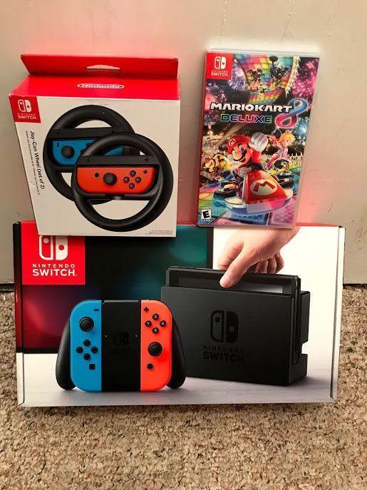 Nintendo Switch Console Neon Red Neon Blue Joy Con W Sealed Mario Kart 8 Bundle Nintendo Mario Kart 8 Nintendo Buy Nintendo Switch