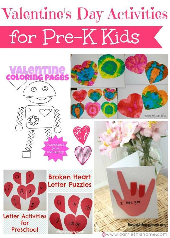 Great collection of Valentine's Day gift & craft ideas specially made for kids ages 3-5!     Valentine's Day Activities for Pre-K Kids