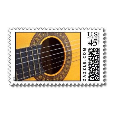 Acoustic guitar stamps. Cool music postage.