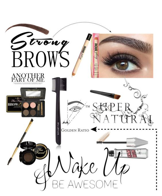 """""""brows"""" by adisneygirlme ❤ liked on Polyvore featuring beauty, Too Faced Cosmetics, LARA, shu uemura, Benefit, BeautyTrend, strongbrows and boldeyebrows"""