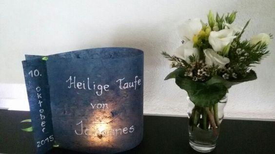 Taufe - Teelicht Lampe Blumenschmuck