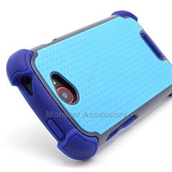 Click Image to Browse: $9.95 Blue X Shield Double Layer Hard Case Gel Cover For HTC One S