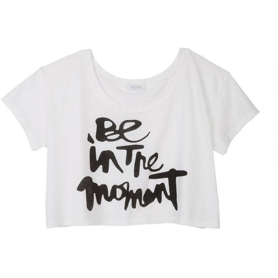 Be In The Moment Crop Tee ❤ liked on Polyvore featuring tops, t-shirts, tees, crop top, shirts, clothingshirts & tops, tee-shirt, shirt crop top, t shirts and crop tee