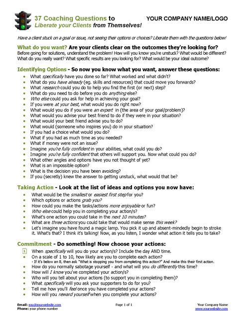 37 Coaching Questions To Liberate Your Clients Coaching Tools