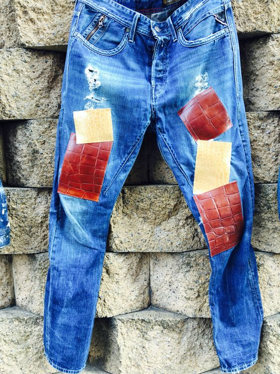 "Denim Re:make Project in Kumamoto.  Leather Patchwork ""fight"".  Base denim is ""Replay"""