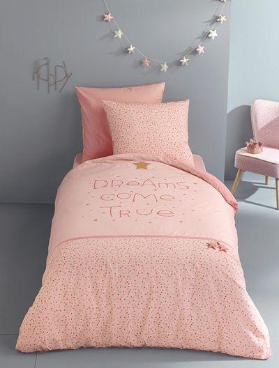 Capa de edredon, tema Noite cor de rosa ROSA CLARO LISO COM MOTIVO