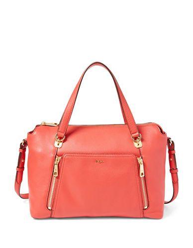 Lauren Ralph Lauren Pebbled Leather Satchel Women's Grenadine Red