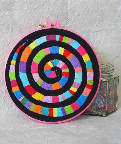 "Hand Embroidery Hoop Wall Art ""Rainbow Spiral"""