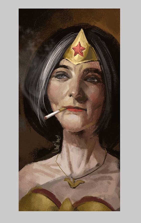 I'm Too Old for this S**T Eddie Liuest un artiste Chinois vivant à Shangaï, et qui s'est amusé à dépeindre les héros de DC Comics façon retraités… Du très joli travail, on espère…