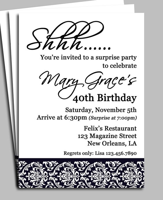 Invitation For Surprise Birthday Party Wording H Pinterest - birthday invitation templates free word
