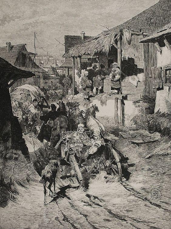 Józef BRANDT (1841-1915)  Ulica w Chocimiu rytował Konstanty Przykorski drzeworyt, papier; 31 x 24 cm (w świetle oprawy); sygn. p. d.: JB 75 oraz l. d.: K. Przykorski