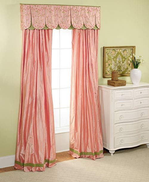 fancy curtain and scalloped valence - peach and green satin: