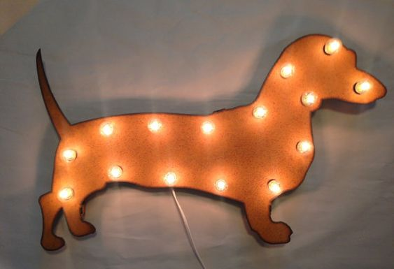 Dachshund Lighted Marquee Sign - made of rusted, recycled metal and clear coated. $129 by TheRusticBarnAZ on Etsy